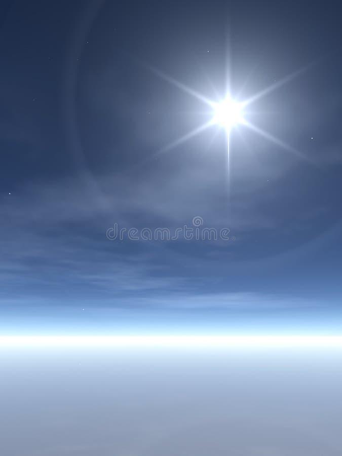 Étoile lumineuse au-dessus des nuages Wispy illustration de vecteur