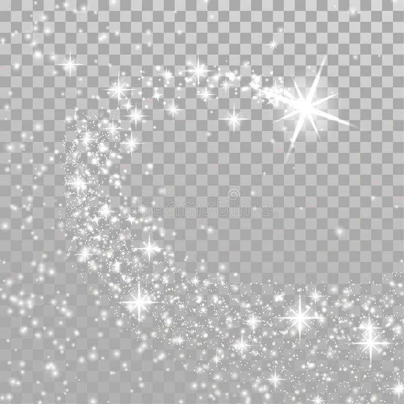 Étoile magique de Noël lumineux de tir au-dessus de la disposition à carreaux illustration libre de droits
