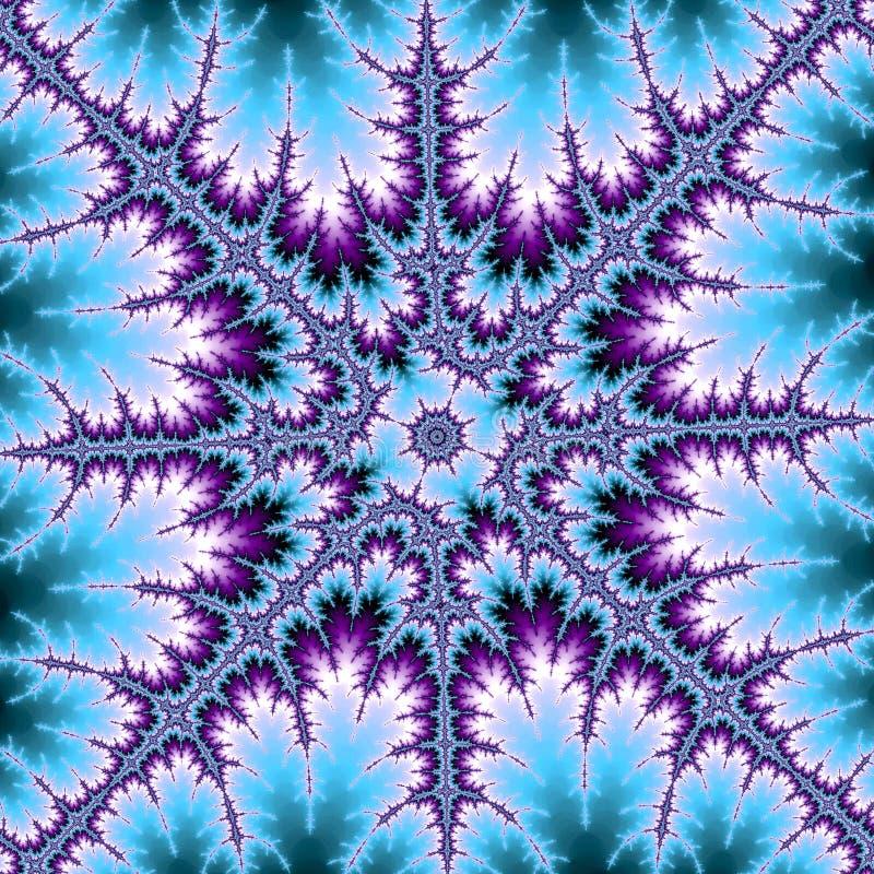 Étoile ou flocon de neige de fractale dans bleu et violet illustration stock