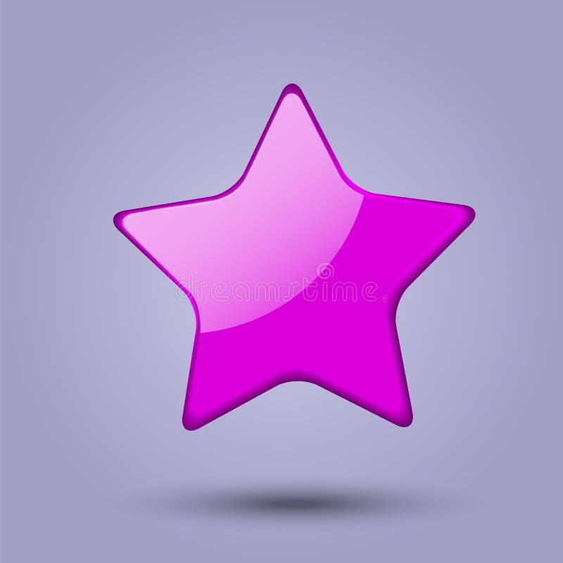 Étoile rose réaliste brillante d'isolement sur le fond gris Icône de Web de Colorfull Illustration de vecteur illustration de vecteur