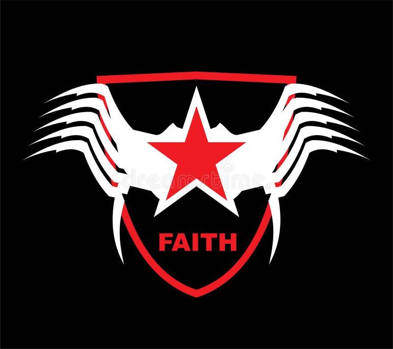 étoile rouge à ailes au-dessus du bouclier illustration de vecteur