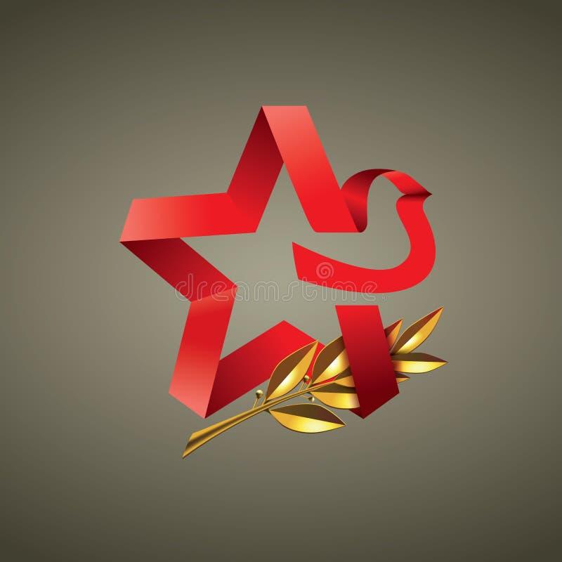 Étoile rouge avec la guirlande d'or de laurier illustration de vecteur