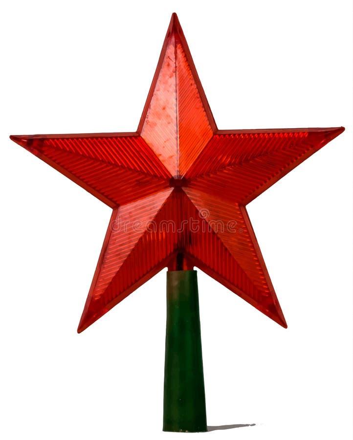 Étoile rouge d'isolement sur le blanc image stock