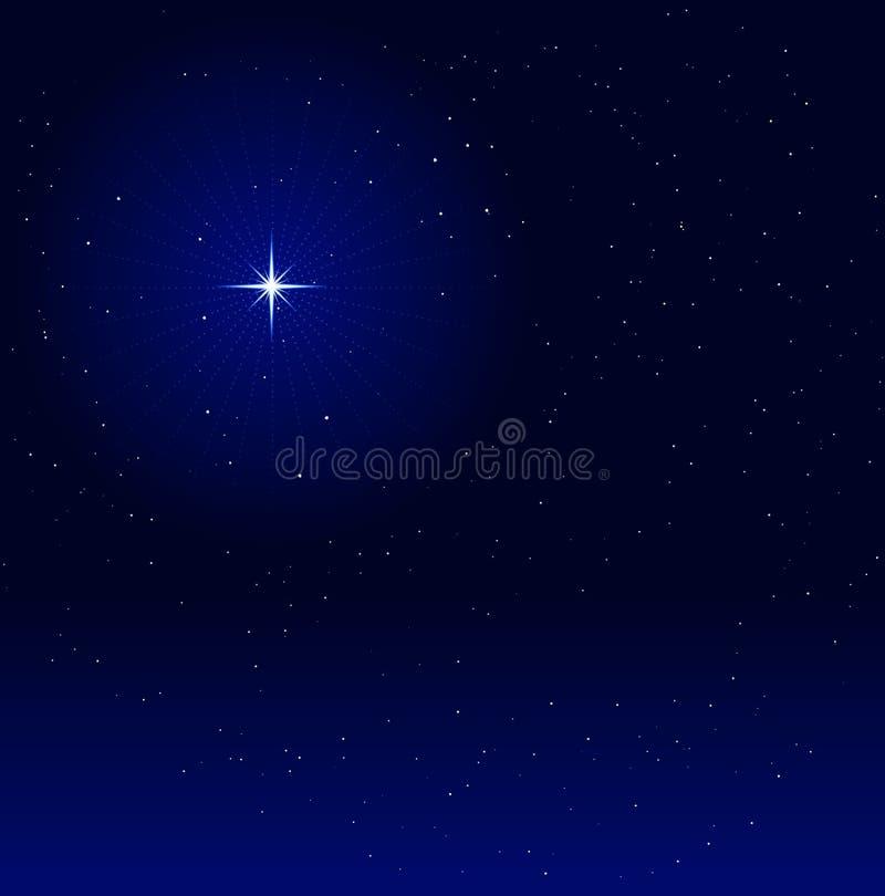 étoile rougeoyante de ciel de nuit illustration stock