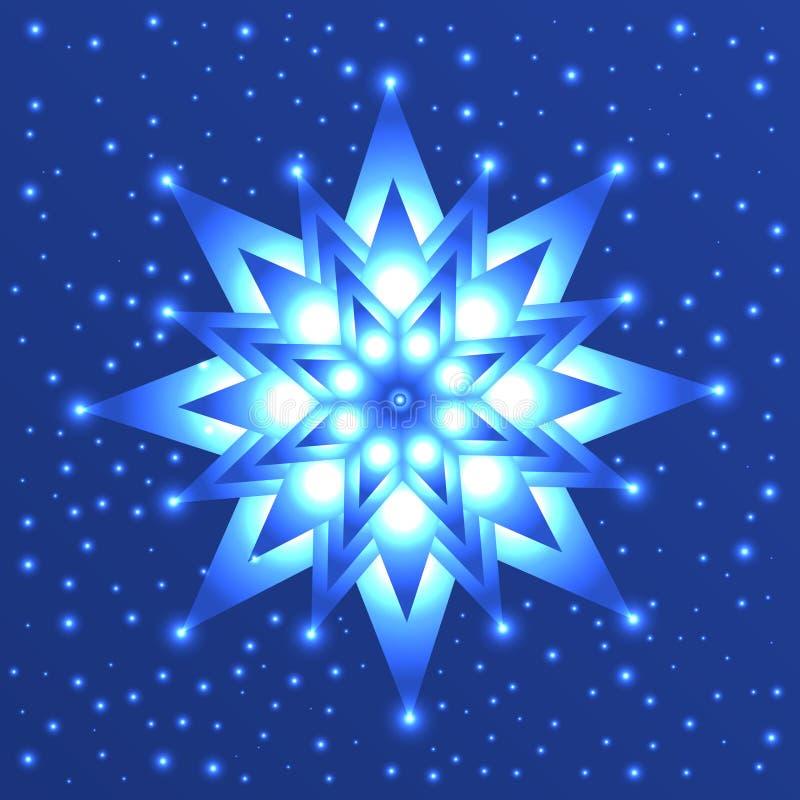 Étoile rougeoyante sur le fond bleu avec des étincelles illustration libre de droits