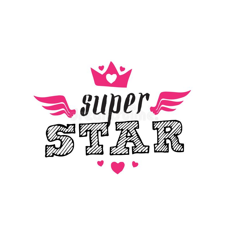 Étoile superbe - copie de T-shirt Illustration de vecteur Superstar - Pat illustration stock