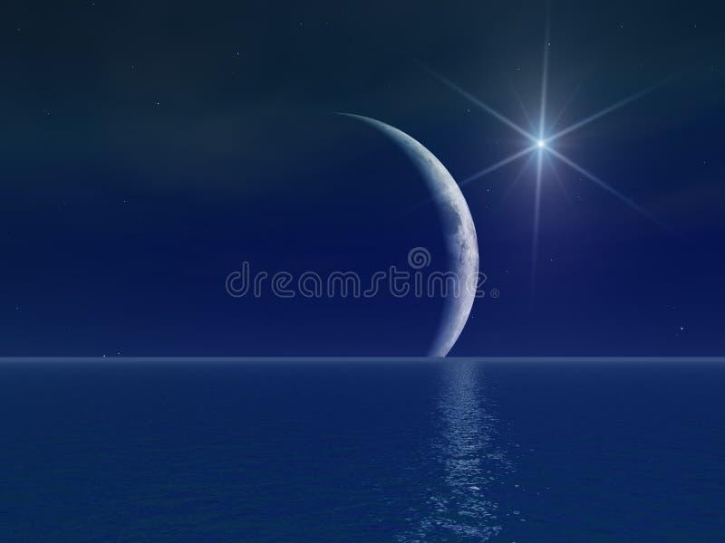 Étoile surréaliste lumineuse au-dessus de lune illustration de vecteur