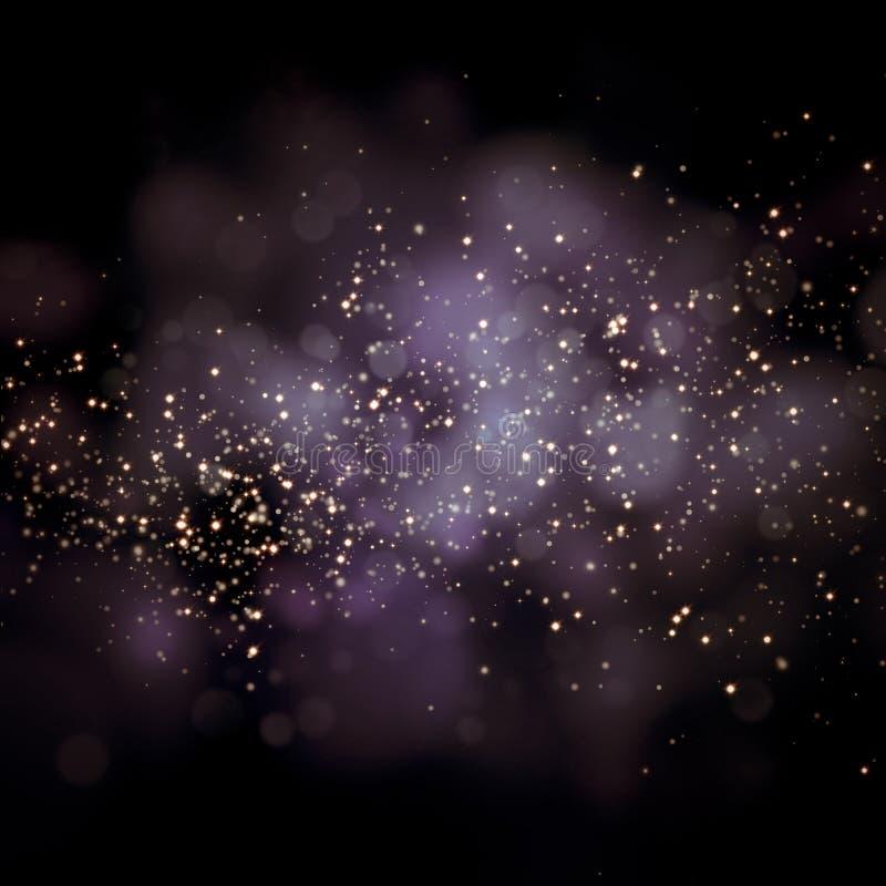 Étoiles éclatantes sur le fond de bokeh illustration stock