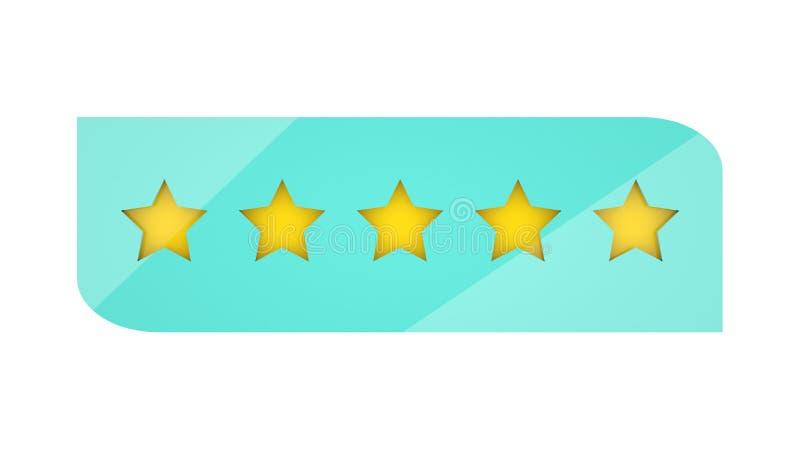 5 étoiles évaluant sur le fond blanc Examen de client Étoiles d'or d'isolement du rang cinq, faciles à placer sur tout fond 3d illustration libre de droits