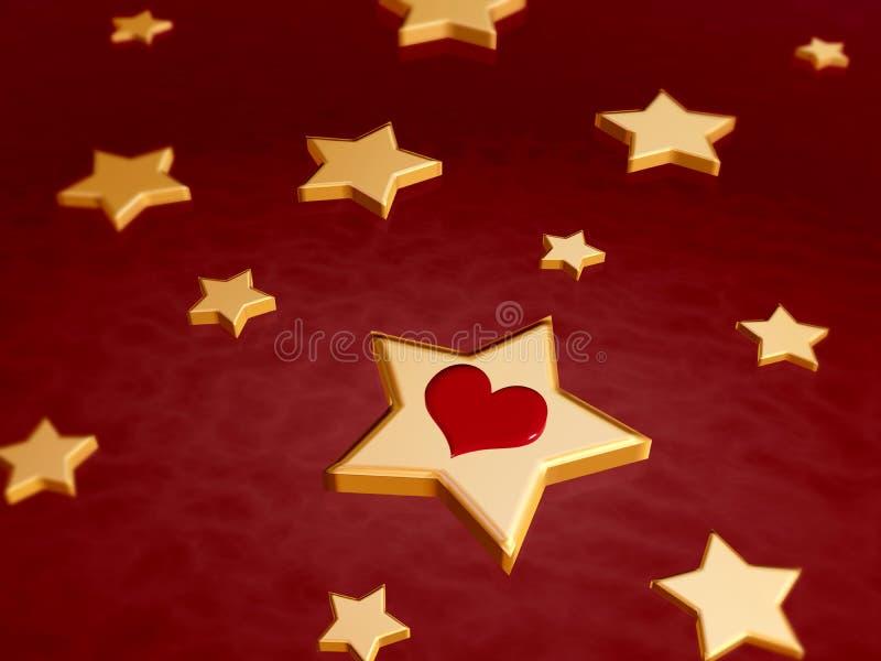 étoiles 3d d'or avec le coeur rouge illustration de vecteur