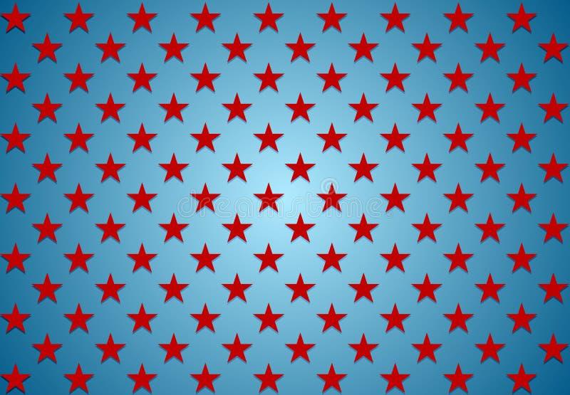 Étoiles abstraites de rouge sur le fond bleu illustration de vecteur