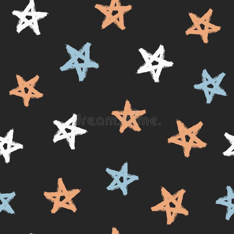 Étoiles aléatoirement dispersées peintes avec la brosse rugueuse Configuration sans joint colorée illustration de vecteur