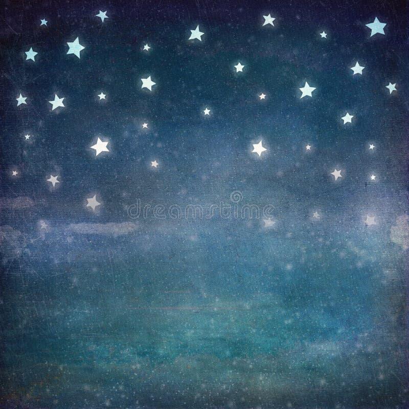 Étoiles au ciel de grunge de nuit illustration de vecteur