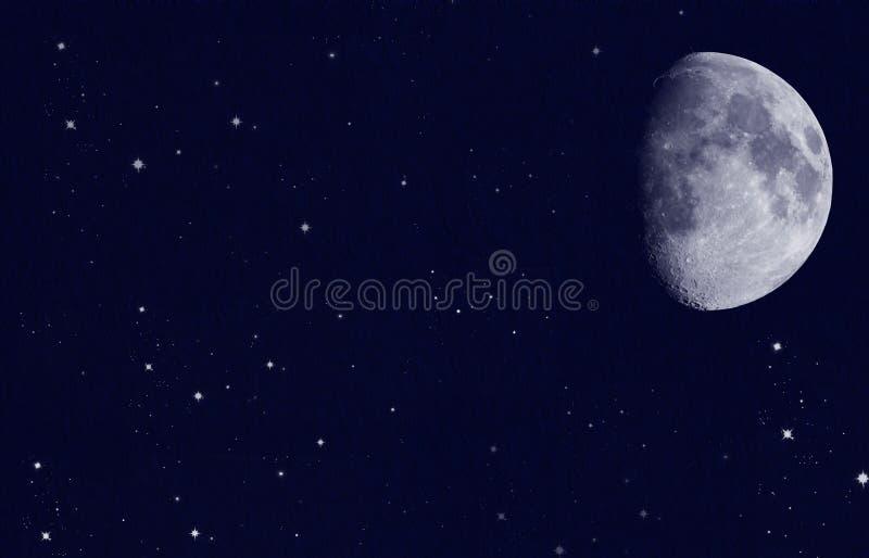 Étoiles avec la lune photos libres de droits
