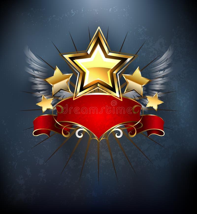 Étoiles avec le ruban rouge illustration stock