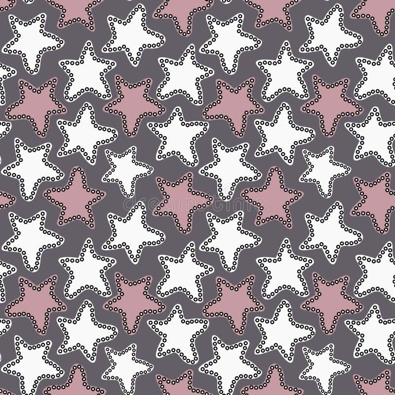 Étoiles blanches et roses tirées par la main sur le fond gris-foncé illustration de vecteur