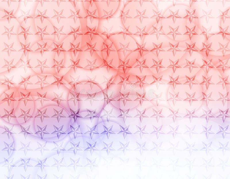 Étoiles bleues rouges avec le papier peint de bulles illustration stock