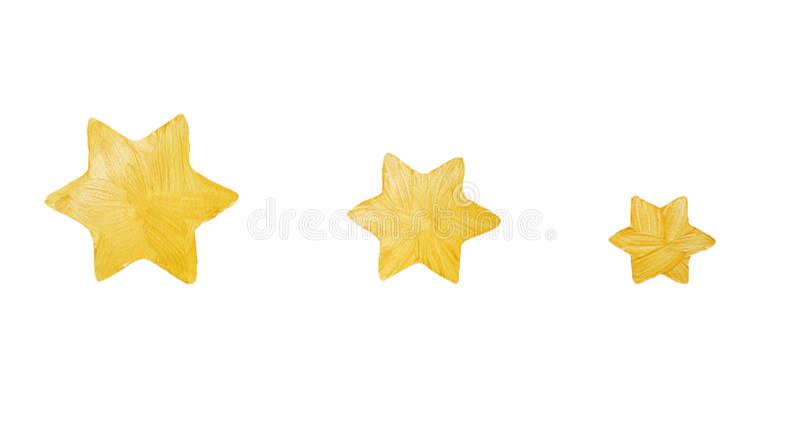 Étoiles Cinq-aiguës d'or de peinture décorative avec des étincelles Gol photo stock