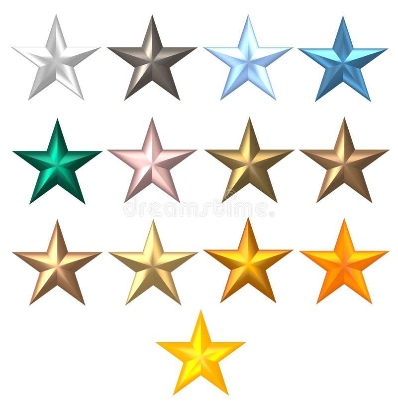Étoiles colorées de rayon en métal 5 illustration de vecteur