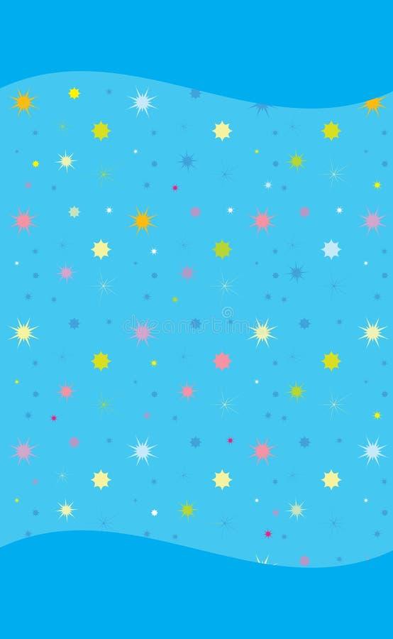 Étoiles colorées sur le fond futé bleu-clair de téléphone illustration de vecteur