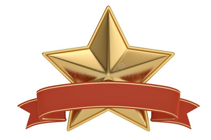Étoiles d'or avec le ruban sur le fond blanc illustration 3D illustration stock