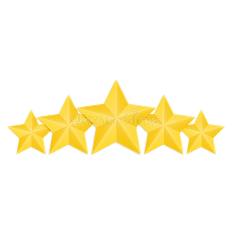 Étoiles d'or d'isolement évaluant l'ensemble, vecteur illustration stock
