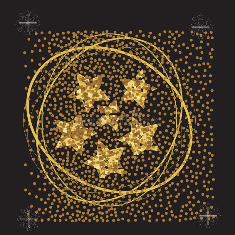 Étoiles d'or de courant sur un fond noir, affiche de nouvelle année, carte illustration stock
