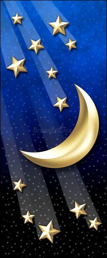 Étoiles d'or de Lune-Tir illustration de vecteur