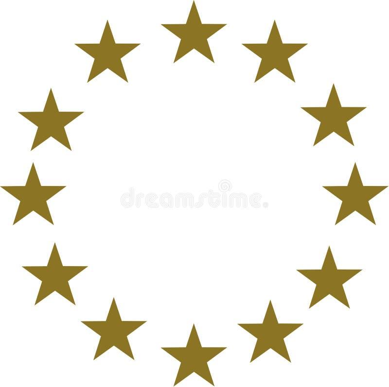 Étoiles d'or en cercle illustration stock