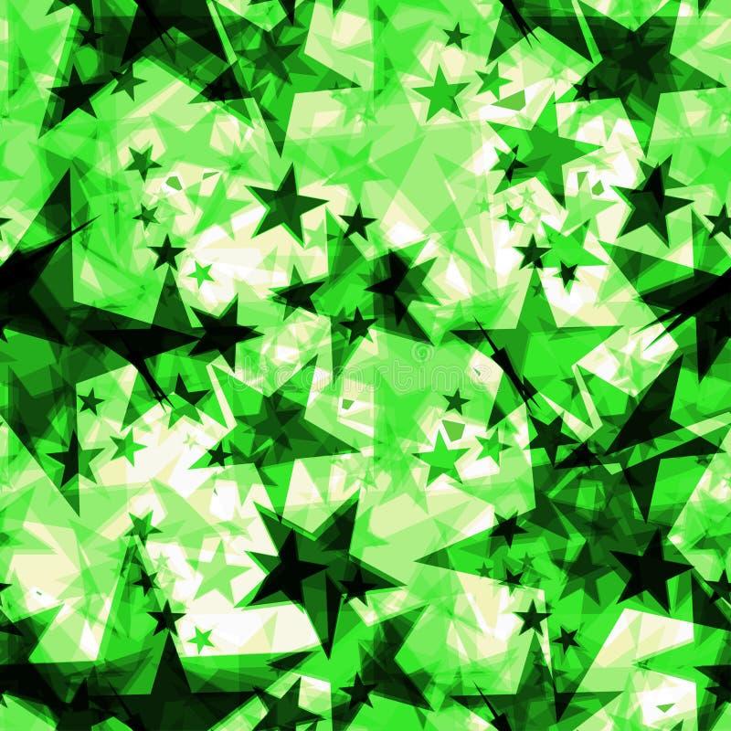 Étoiles d'or foncées rougeoyantes de vert métallique sur un fond clair dans la projection illustration stock