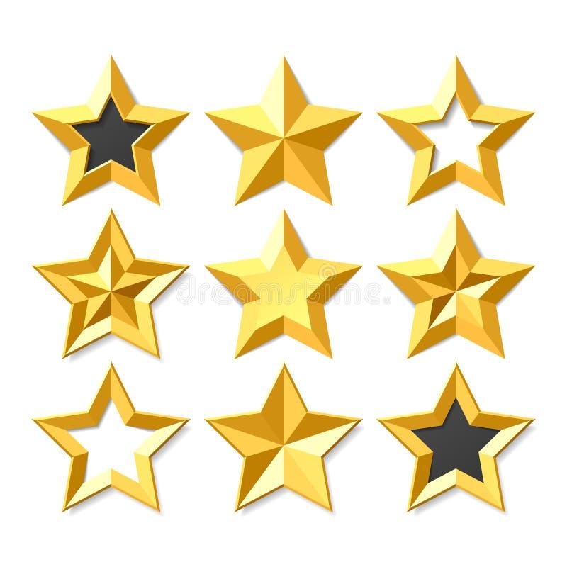 Étoiles d'or réglées illustration de vecteur