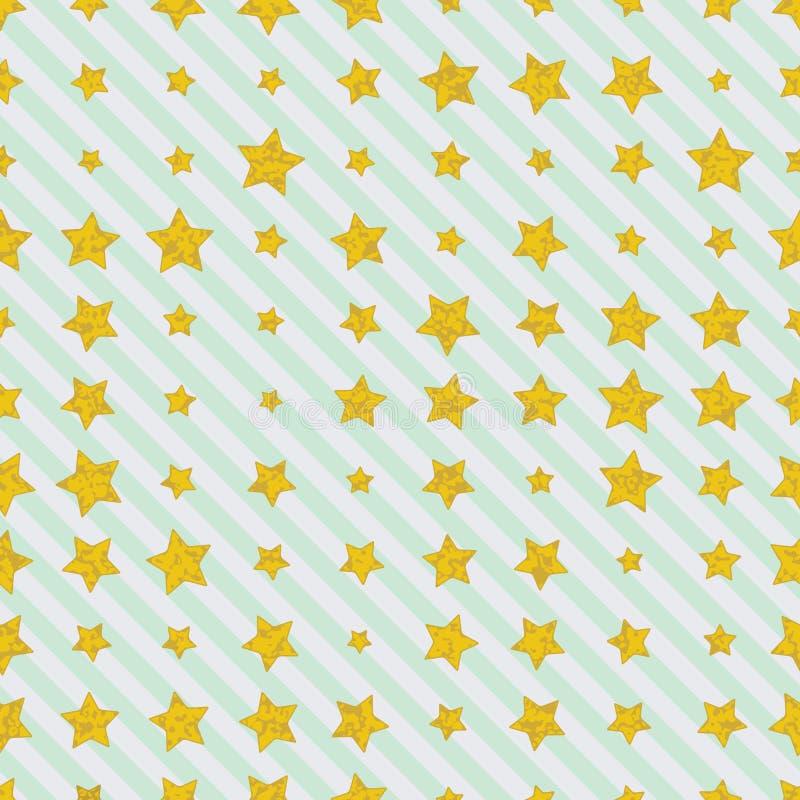 Étoiles d'or sur le fond diagonal de lignes droites illustration de vecteur