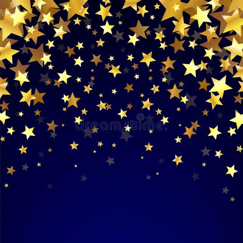 Étoiles d'or sur le fond foncé illustration stock