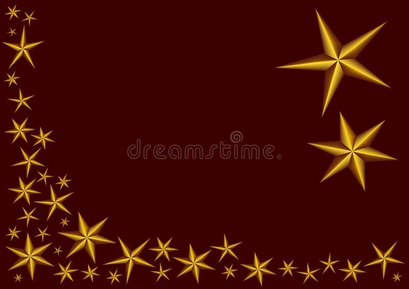 Étoiles d'or sur le fond rouge images libres de droits
