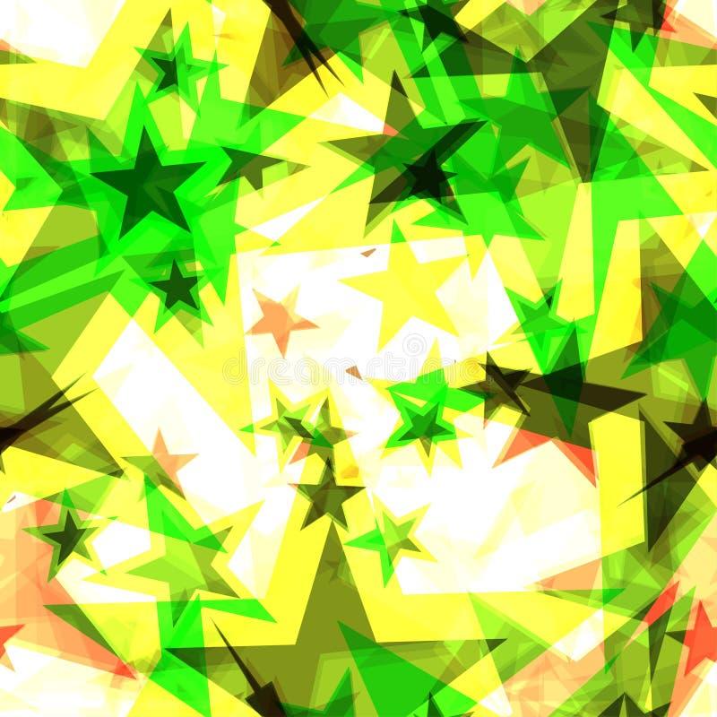 Étoiles d'or vertes rougeoyantes lumineuses sur un fond clair dans la projection illustration de vecteur
