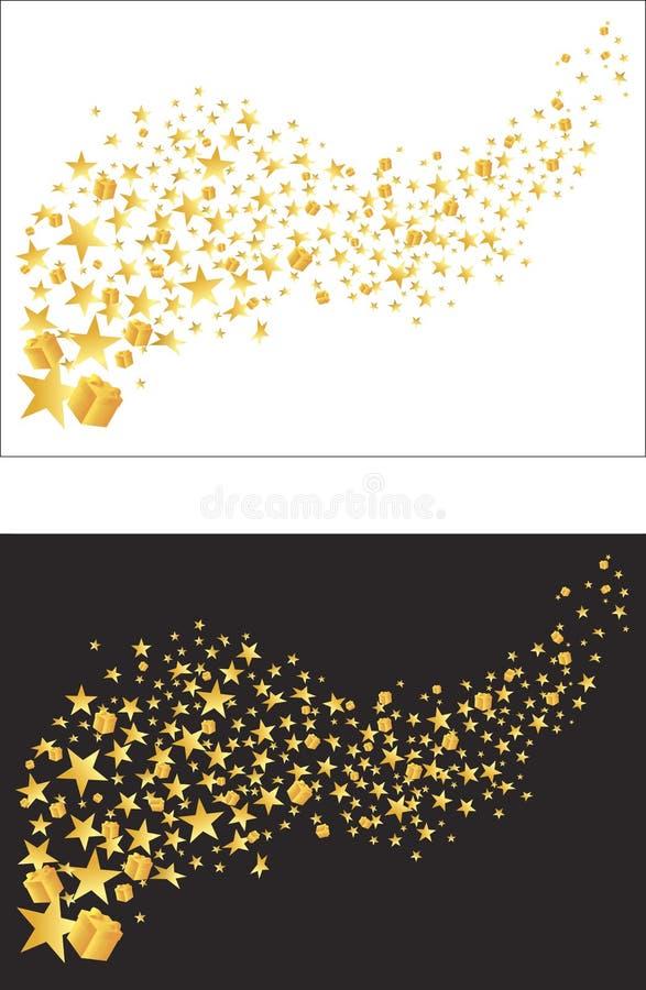 Étoiles d'or volantes et cadeaux d'or Vecteur illustration de vecteur