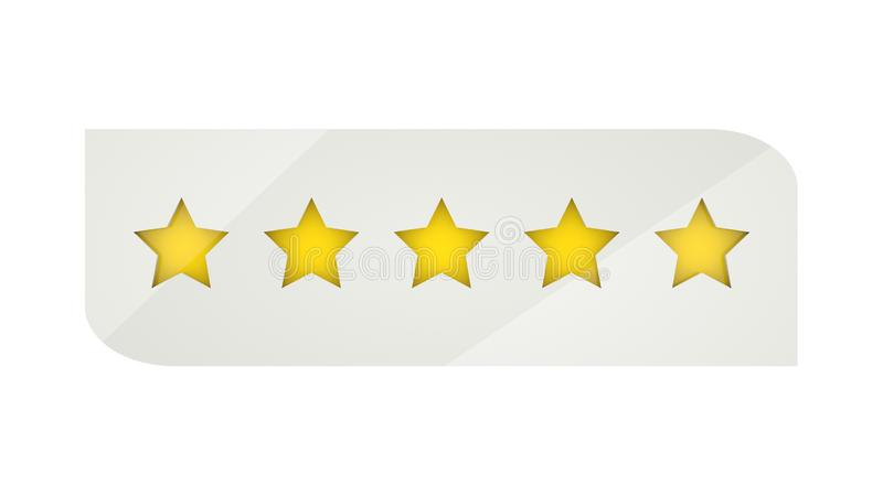 Étoiles de évaluation ou 5 signes d'étoile de rang de Web d'illustration de l'examen 3d de taux illustration de vecteur
