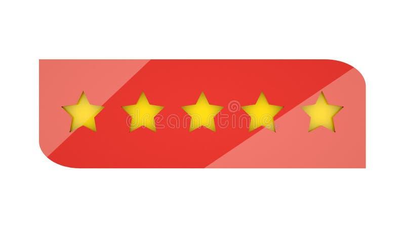 Étoiles de évaluation ou 5 signes d'étoile de rang de Web de rendu de l'examen 3d de taux illustration de vecteur