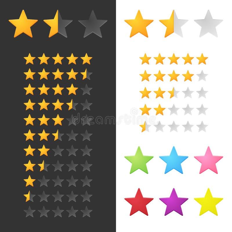 Étoiles de évaluation réglées illustration stock