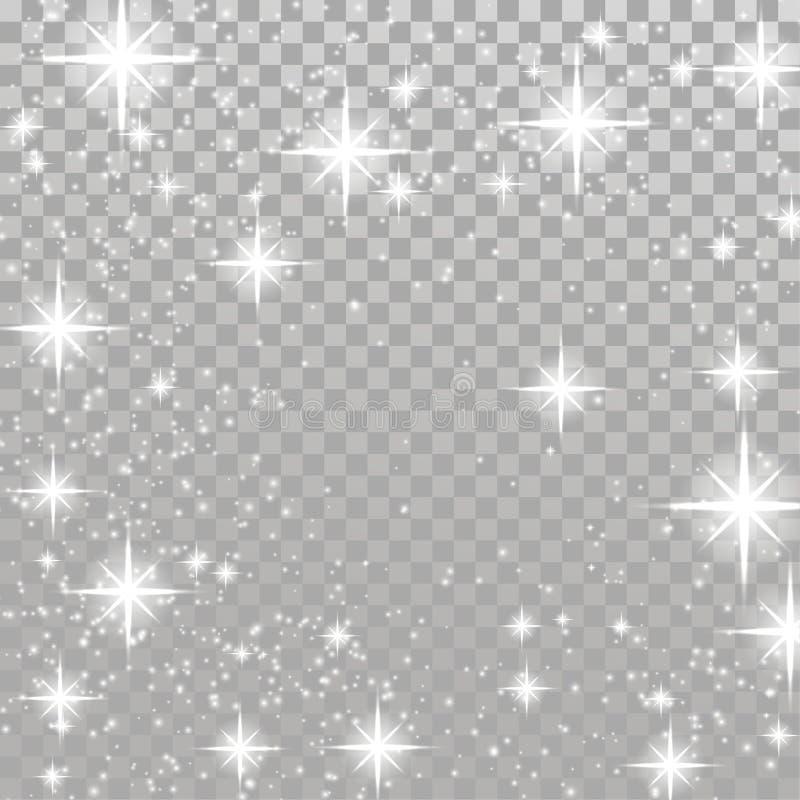 Étoiles de clignotement de blanc lumineux au-dessus de backgrou à carreaux gris-clair illustration libre de droits