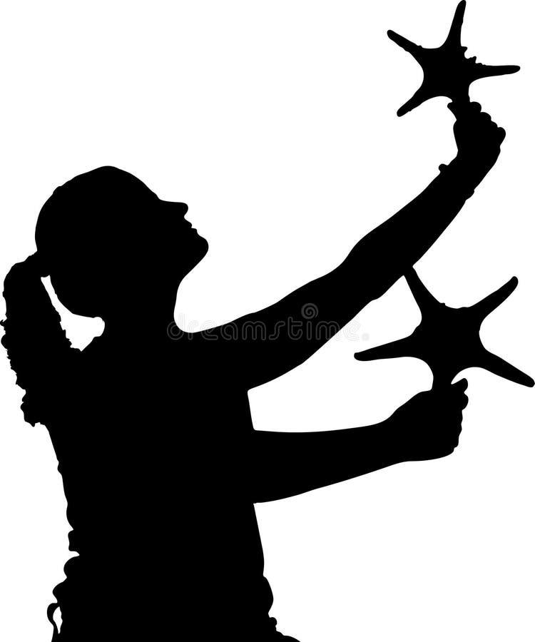 Étoiles de fixation de fille illustration libre de droits