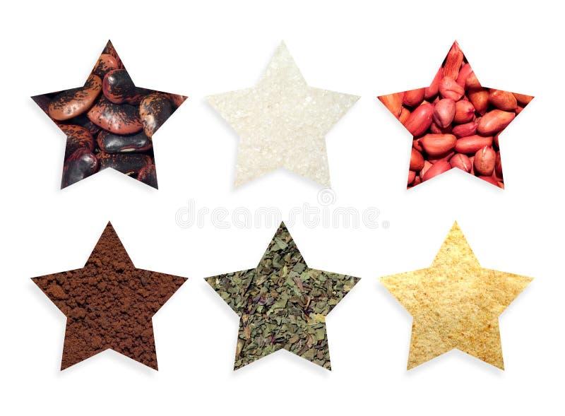 Étoiles de formes avec des nourritures et des épices photographie stock libre de droits