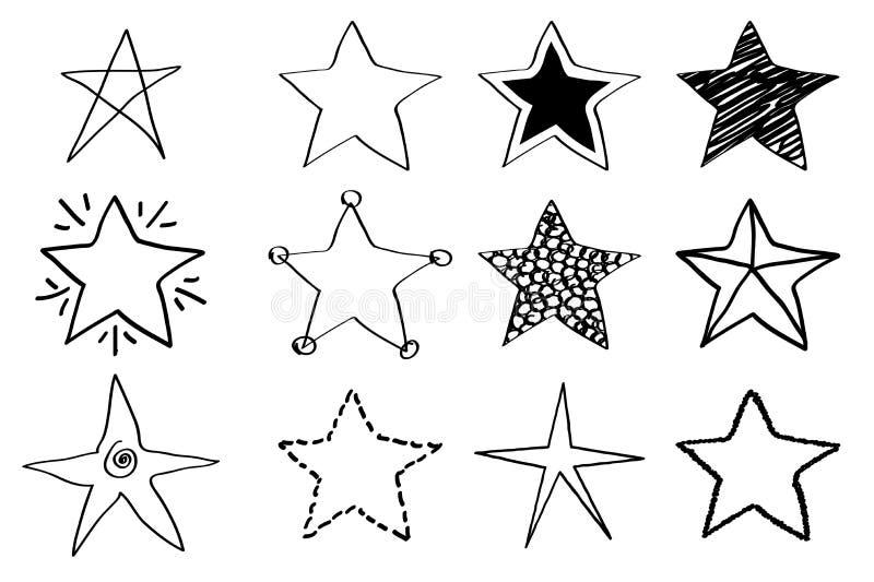 Étoiles de griffonnage illustration stock