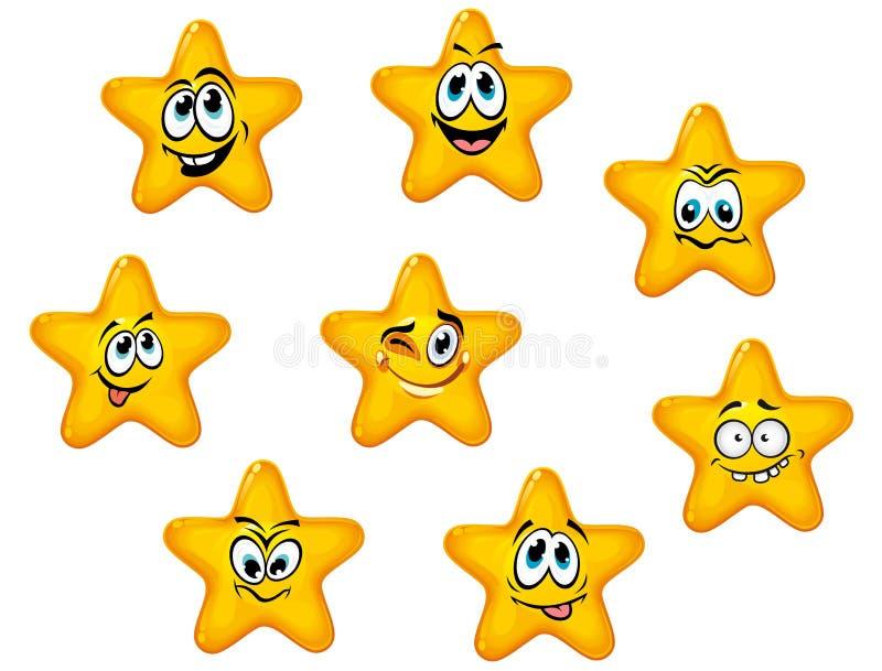 Étoiles de jaune avec les visages émotifs illustration stock