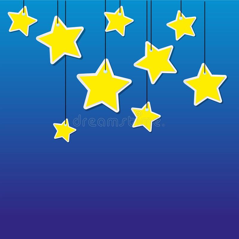 Étoiles de jaune sur le fond bleu illustration de vecteur