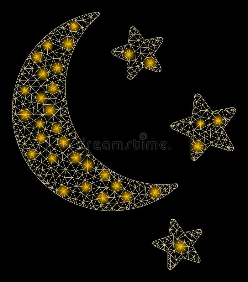 Étoiles de lune de maille de fusée 2D avec des taches de fusée illustration stock
