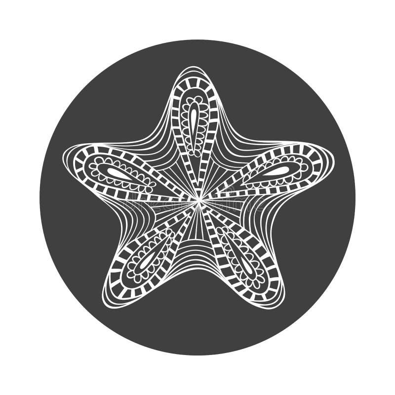 Étoiles de mer blanches tirées par la main d'isolement d'ensemble sur le fond rond noir Ornement d'étoile des lignes de courbe illustration stock