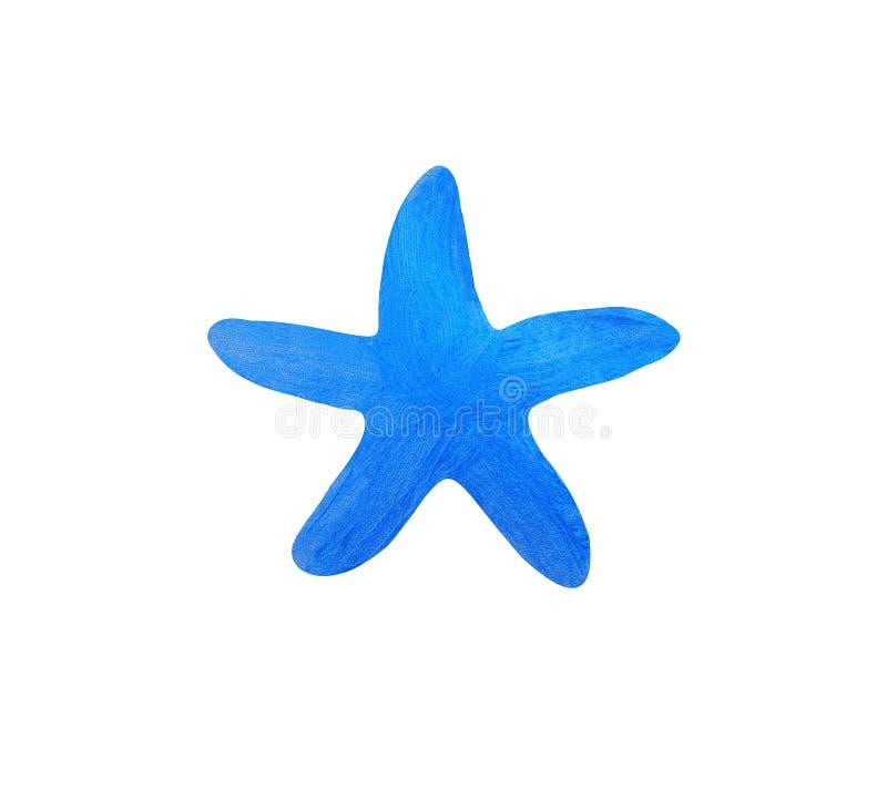Étoiles de mer peintes avec la peinture bleue brillante sur le fond blanc, isolant images libres de droits