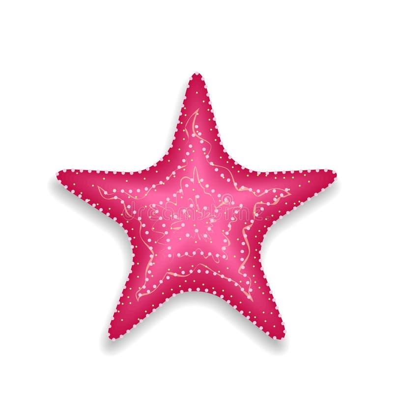 Étoiles de mer roses sur le fond blanc illustration libre de droits