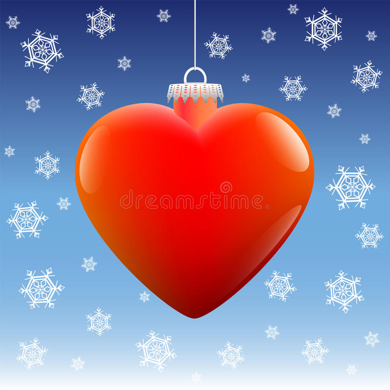 Étoiles de neige de coeur de boule de Noël illustration de vecteur